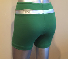 "Stripe Shorts - FINAL SALE - SILVER METALLIC ACCENT ON EMERALD - X LARGE - 2.5"" INSEAM - 12"" SIDES (1 AVAILABLE)"