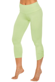 High Waist Band Side Gather 3/4 Leggings