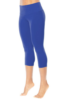High Waist 3/4 Leggings - Solid Color Supplex