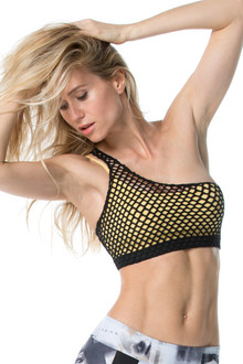 Reversible One Shoulder Mesh Bra - FINAL SALE - BLACK - SMALL (1 AVAILABLE)