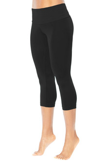 High Waist Band 3/4 Leggings - BLACK FINAL SALE -XS (1 Available)