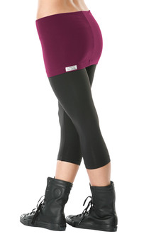 Transformable Skirt 3/4 Leggings - FINAL SALE - BURGUNDY ON BLACK - LARGE (1 AVAILABLE)