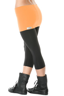 "Transformable Skirt 3/4 Leggings - FINAL SALE - APRICOT ON BLACK - MEDIUM - SKIRT 13"" (1 AVAILABLE)"
