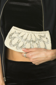 Handmade Vintage Art Deco Pearl and Beaded Zipper Clutch (One Of A Kind)