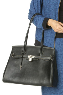 """""""Kelly"""" Faux Leather Lock Bag (One Of A Kind)"""