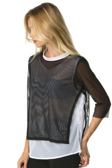Double Layer Open Side Mesh 3/4 Sleeve Top