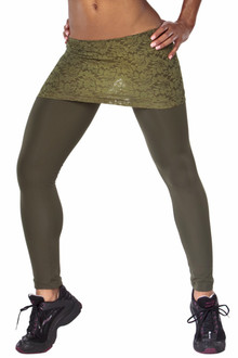 """Transformable Lace Skirt Leggings - FINAL SALE - ARMY LACE ON ARMY - LARGE - 29"""" INSEAM (1 AVAILABLE)"""