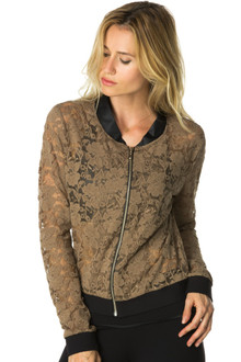 Lace Bomber Jacket w/ Wet Black Collar