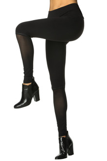 High Waist Mod Wet Halo Leggings- Mesh Accent on Supplex