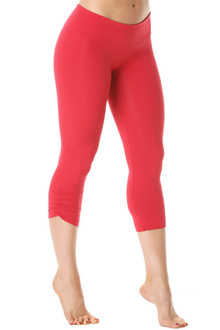 Sport Band Side Gather 3/4 Leggings - VEGAS RED - FINAL SALE