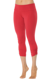 Sport Band Side Gather 3/4 Leggings - Final Sale - Vegas Red