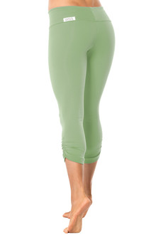 SPORT BAND SIDE GATHER 3/4 LEGGINGS - GARDEN - FINAL SALE