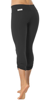 SPORT BAND SIDE GATHER 3/4 LEGGINGS - BLACK- FINAL SALE - XS