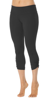 SPORT BAND SIDE GATHER 3/4 LEGGINGS - BLACK- FINAL SALE - S