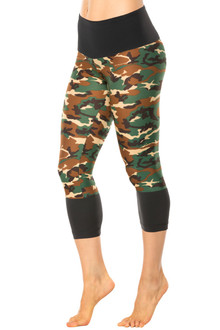 High Waist Cuff Leggings - Supplex Accent on Brushed Print