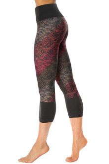 High Waist Black Cuff Print Leggings