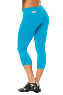 Bright Turquoise Sport Band Side Gather 3/4 Leggings - FINAL SALE