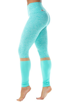 "Elevate High Waist Butter/Supplex Leggings w/ Mesh Accent - FINAL SALE - BUTTER MINT/NUDE MESH/ICE SUPPLEX - SMALL - 29"" INSEAM (1 AVAILABLE)"