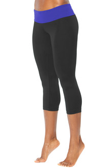 Sport Band 3/4 Leggings - FINAL SALE - ROYAL ON BLACK - MEDIUM (1 AVAILABLE)