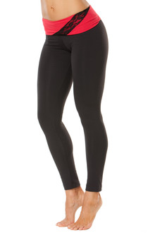 """Lace Wind Rolldown Leggings - FINAL SALE - RED AND BLACK LACE ON BLACK - SMALL - 27"""" INSEAM (1 AVAILABLE)"""