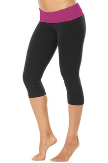 Rolldown 3/4 Leggings - ORCHID ON BLACK - FINAL SALE - SMALL (1 AVAILABLE)