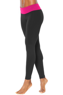 "Sport Band Leggings - FUCHSIA ON BLACK - FINAL SALE - SMALL - 28.5"" INSEAM (1 AVAILABLE)"
