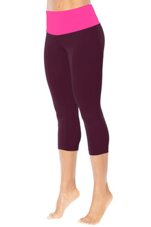 High Waist Band 3/4 Leggings - FINAL SALE - FUCHSIA ON AGENT - MEDIUM(1 AVAILABLE)