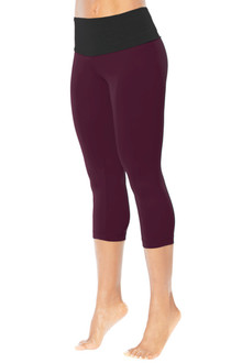 High Waist Band 3/4 Leggings - FINAL SALE - BLACK ON AGENT - XSMALL(1 AVAILABLE)