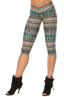 Alicia Marie - Native 3/4 Leggings - FINAL SALE - SMALL (1 AVAILABLE)