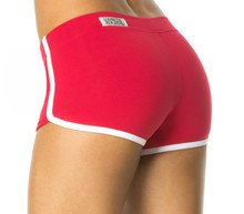 "Retro Shorts -FINAL SALE - WHITE ACCENT ON VEGAS RED - XSMALL - 2.5"" INSEAM (1 AVAILABLE)"