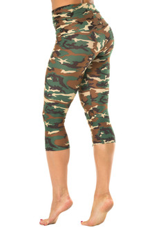 Camouflage Rolldown 3/4 Leggings - CAMO GREEN - LARGE (1 AVAILABLE)