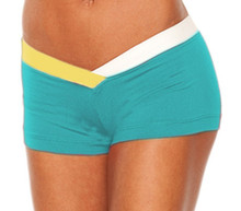 "JNL - Firefly Shorts - FINAL SALE - WHITE AND JELLOW ACCENT ON TEAL- MEDIUM- 3"" INSEAM (1 AVAILABLE)"