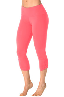 High Waist Band Side Gather 3/4 Leggings - CORAL - FINAL SALE - XLARGE (1 AVAILABLE)