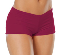 """Lowrise Double Layer Boy Shorts - FINAL SALE - BURGUNDY - MEDIUM - 1.75"""" INSEAM (1 AVAILABLE)"""
