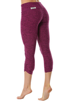 Butter Plum Sport Band Side Gather 3/4 Leggings - FINAL SALE - XSMALL (1 AVAILABLE)