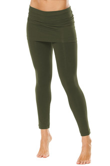 "Transformable Skirt 7/8 Leggings - Solid Army Supplex - FINAL SALE - M 27.25"" INSEAM (1 AVAILABLE)"