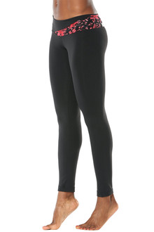 """Lace Florence Band Leggings - FINAL SALE - RED FAIRY LACE ON BLACK - SMALL - 26"""" INSEAM (1 AVAILABLE)"""