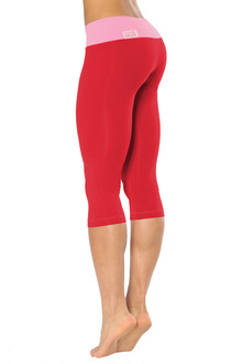 Alicia Marie - Kitten 3/4 Leggings - FINAL SALE - CANDY PINK ON VEGAS RED - SMALL (1 AVAILABLE)