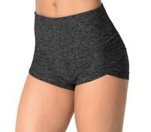 "High Waist Kala Butter Gather Front Shorts - FINAL SALE - DARK BLACK - XSMALL - 2.75"" INSEAM (1 AVAILABLE)"