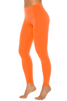 Orange Stretch Cotton High Waist Leggings