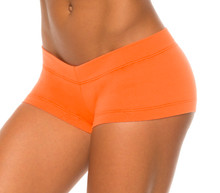 Orange Stretch Cotton Lowrise Mini Shorts - custom