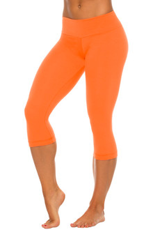 Orange Stretch Cotton Sport Band 3/4 Leggings