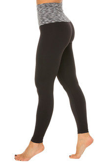 Black Water on Black Supplex Italian Length Rolldown Leggings - FINAL SALE