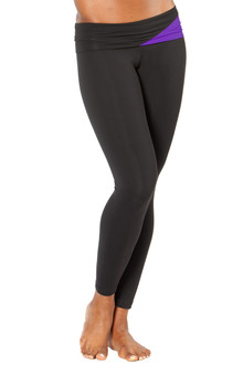 "Graphic Rolldown Leggings - FINAL SALE - AMETHYST ON BLACK - SMALL - 27"" INSEAM (1 AVAILABLE)"