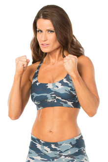 CAMOUFLAGE BLUE LUX BRA- FINAL SALE- SMALL (1 AVAILABLE)