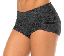 "Butter Kala Gather Front Mini Band Shorts - FINAL SALE - DARK BLACK- XSMALL - 2.75"" INS (1 AVAILABLE)"