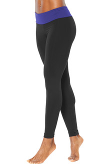 Sport Band Leggings - FINAL SALE - ITALIAN LENGTH - ROYAL ON BLACK - SMALL