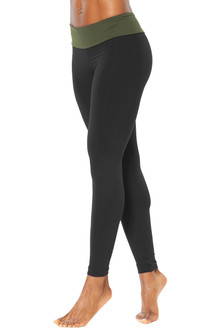 Sport Band Leggings - FINAL SALE - ITALIAN LENGTH - ARMY ON BLACK - SMALL
