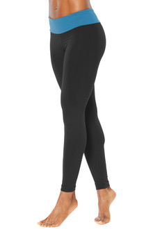 Sport Band Leggings - FINAL SALE - ITALIAN LENGTH - MALIBU ON BLACK - LARGE