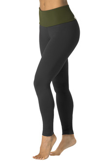 High Waist Leggings - FINAL SALE - ITALIAN LENGTH - ARMY ON BLACK - LARGE